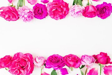 Floral frame made of pink roses on white background. Flat lay, top view. Flower background.