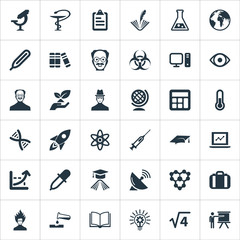 Vector Illustration Set Of Simple Study Icons. Elements Biology, Scholar, Researcher And Other Synonyms Electronic, History And Protection.