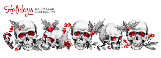 Watercolor horizontal garland of sketchy skulls, berries, leaves. Cretive New Year. Celebration illustration. Can be use in winter holidays design.