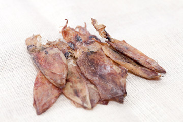 Dried squid on sack