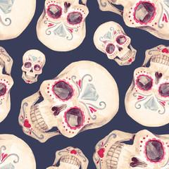 Watercolor skull seamless pattern