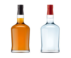 Blank bottles of alcohol drink
