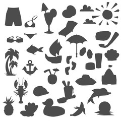 Set of different elements dedicated to the sea vacation isolated on white. Vector illustration.