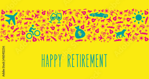 happy retirement congratulation vector card with funny icons stock