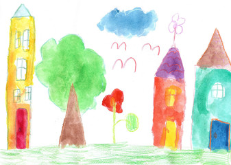 Child's drawing. Country house and trees