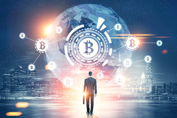Businessman with a suitcase, bitcoin HUD, city