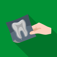 X-ray of the tooth in the hand of the dentist. Stomatology single icon in flat style vector symbol stock illustration web.
