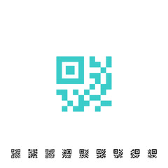 Icon for QR scanning application. Vector simplified code sample