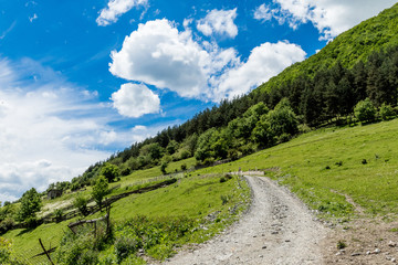 Slope of the Alpine meadow with a picturesque gravel road against a blue sky with white clouds