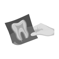 X-ray of the tooth in the hand of the dentist. Stomatology single icon in monochrome style vector symbol stock illustration web.
