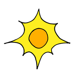 Doodle sun hand drawing icon vector illustration