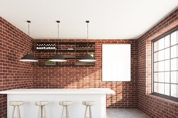 Brick cafe interior with a white stand