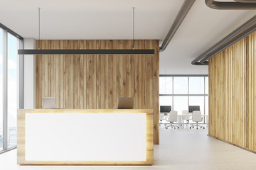 White and wooden reception, meeting room front