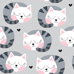 seamless sleeping cat pattern vector illustration