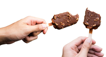 hand holding Chocolate almonds Ice cream bite bar isolate on white background