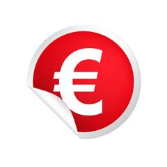 runder Sticker rot Euro bold