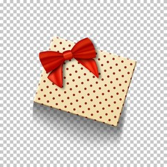 Illustration of Vector Gift Box with Red Ribbon Isolated on Transparent Background