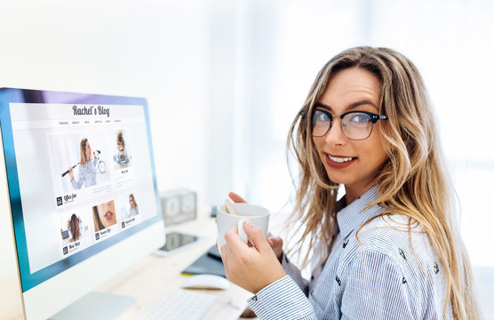 Young blogger woman smiling