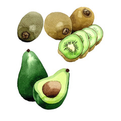 Exotic kiwi and avocado healthy food in a watercolor style isolated. Full name of the fruit: kiwi and avocado. Aquarelle wild frukt for background, texture, wrapper pattern or menu.