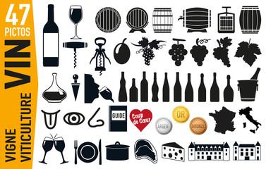 icône - vin - raisin - bouteille de vin - tonneau -pictogramme - promotion