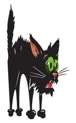 Cartoon image of scared black cat. An artistic freehand picture.