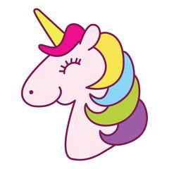 Unicorn Head Smile And Happy Cartoon Line Art Color