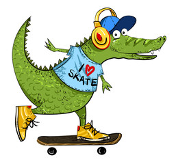Cartoon image of amazing skateboarding alligator. An artistic freehand picture.