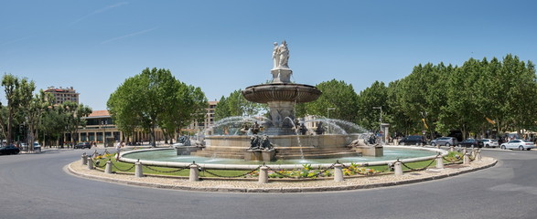 Panoramic view of  Fontaine de la Rotonde in Aix en Provence, France