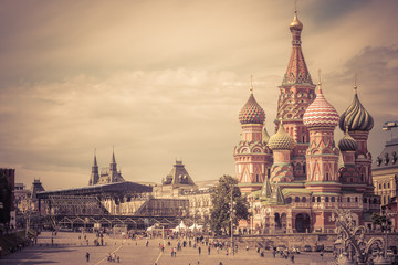 Fototapete - Cathedral of St. Basil in the Red Square in Moscow