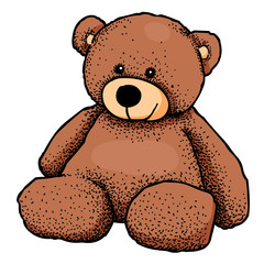 Cartoon image of teddy bear. An artistic freehand picture.
