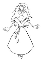 Cartoon image of vampire girl. An artistic freehand picture.