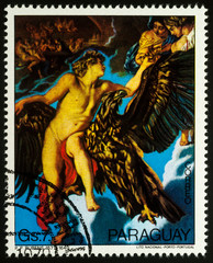 Painting Abduction of Ganymede on postage stamp