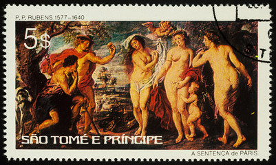 Painting The Judgment of Paris on postage stamp