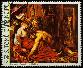 Painting Samson and Delilah on postage stamp