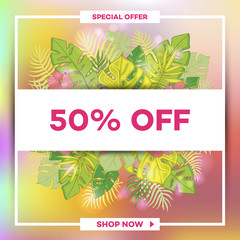 Summer sale background with tropical palm leaves_20