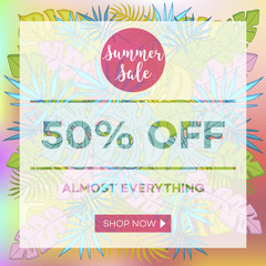 Summer sale background with tropical palm leaves_22