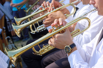 Trumpets in street orchestra
