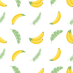 Seamless pattern with tropical palm leaves and bananas. illustration. Easy to use for backdrop, textile, wrapping paper, wall posters.