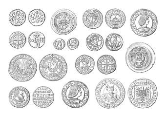 Old coins collection (500-1700) - vintage illustration
