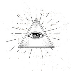 Eye of Providence. Masonic symbol. All seeing eye inside triangle pyramid. New World Order. Sacred geometry, religion, spirituality, occultism. Isolated vector illustration. Conspiracy theory.