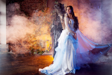 Beautiful girl and a monster, fairy tale, concept. Fine art photo.