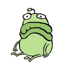 A sad alien sits alone. Bad mood. Vector illustration.