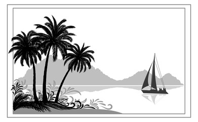 Exotic Sea Landscape, Tropical Palms Trees and Floral Pattern, Sailboat Ship, Mountains, Black and Grey Silhouettes on White Background. Vector
