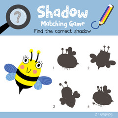 Shadow matching game of Bee flying animals for preschool kids activity worksheet colorful version. Vector Illustration.