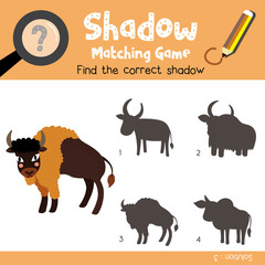 Shadow matching game of Bison animals for preschool kids activity worksheet colorful version. Vector Illustration.