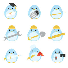 Vector set of penguins of various professions: Scientist, accountant, teacher, engineer, worker, builder, doctor, baker, programmer. Cute cartoon illustration