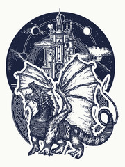 Dragon and castle tattoo art. Symbol force, fantasy, fairy tale. Strong dragon with celtic ornament and ancient castle  t-shirt design