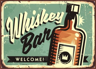 Welcome to the Whiskey bar, promotional retro sign layout design