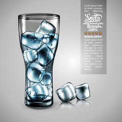 Advertising design Soda water, Transparent water effect. High detailed realistic illustration