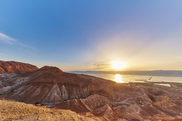 Dead sea sunrise view from the mountais